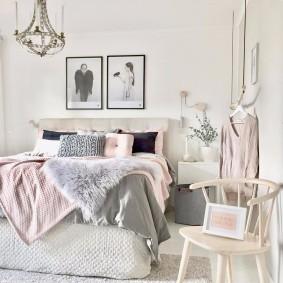 спальня в серо розовых тонах интерьер фото