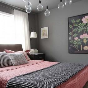 спальня в серо розовых тонах фото интерьер