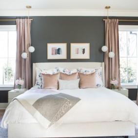 спальня в серо розовых тонах идеи интерьера