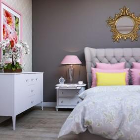 спальня в серо розовых тонах фото оформления