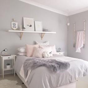 спальня в серо розовых тонах варианты