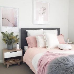 спальня в серо розовых тонах фото вариантов