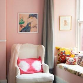спальня в серо розовых тонах виды декора