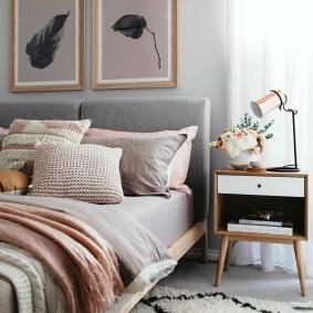 спальня в серо розовых тонах фото идеи