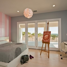 спальня в серо розовых тонах фото дизайн