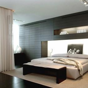 спальня в шоколадных тонах оформление