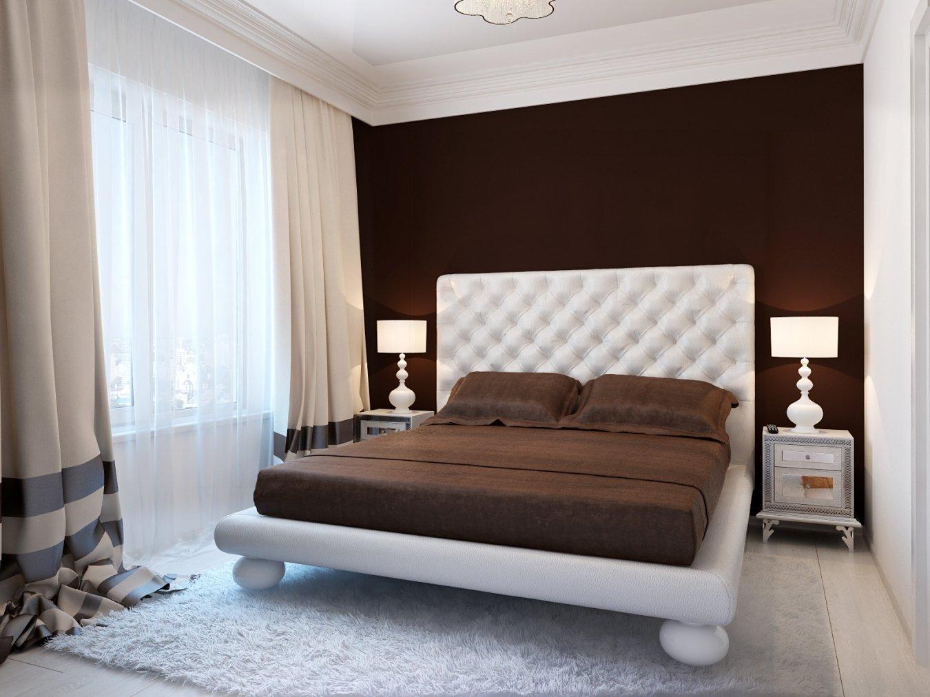 спальня в шоколадных тонах с белым