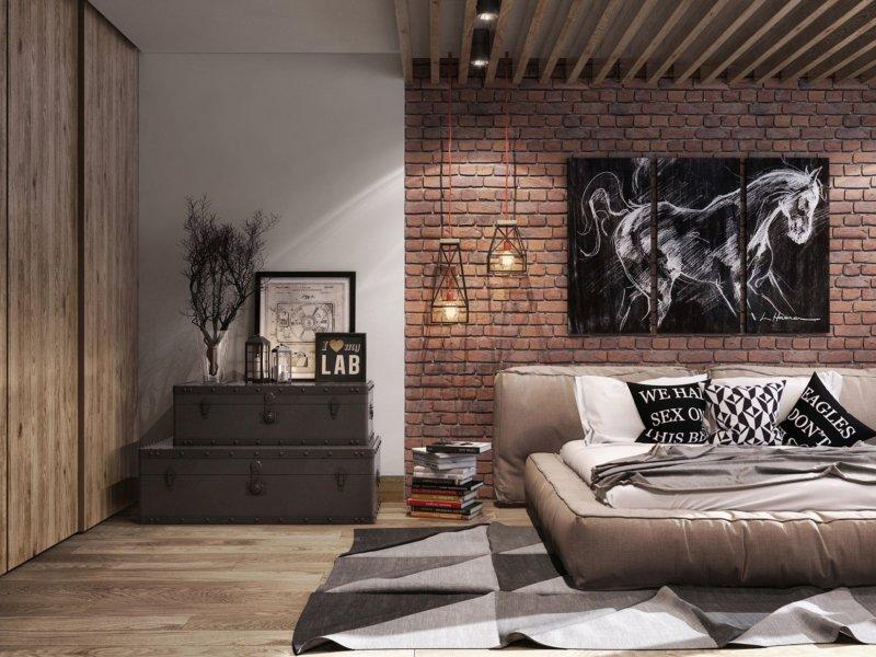 спальня в шоколадных тонах с гардеробной