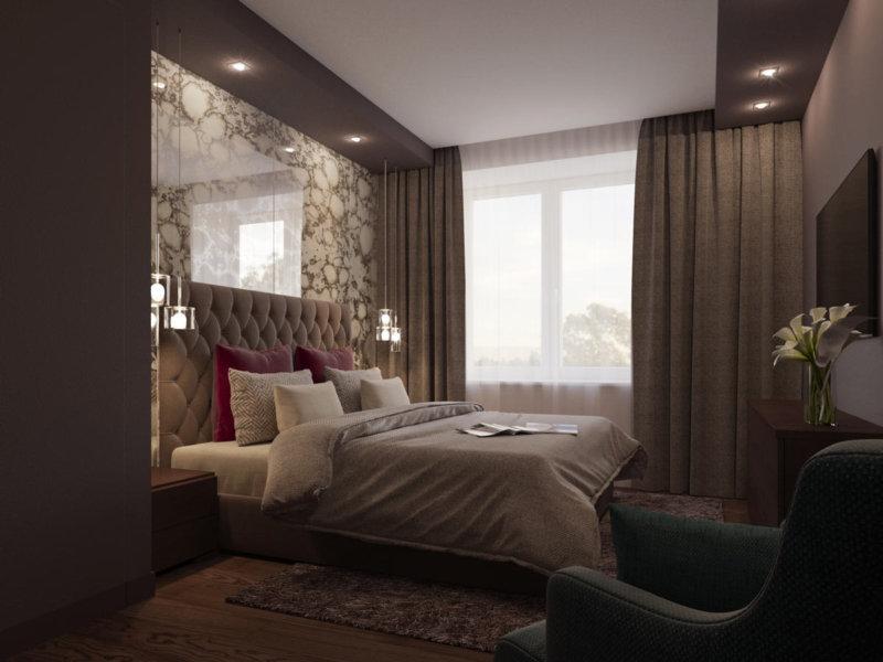 спальня в шоколадных тонах со шторами