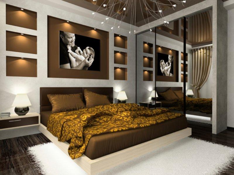 спальня в шоколадных тонах со шкафом купе