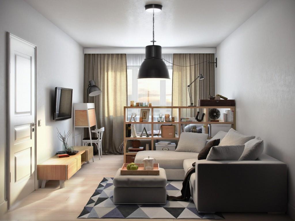 Зонирование невысоким стеллажом пространства однокомнатной квартиры