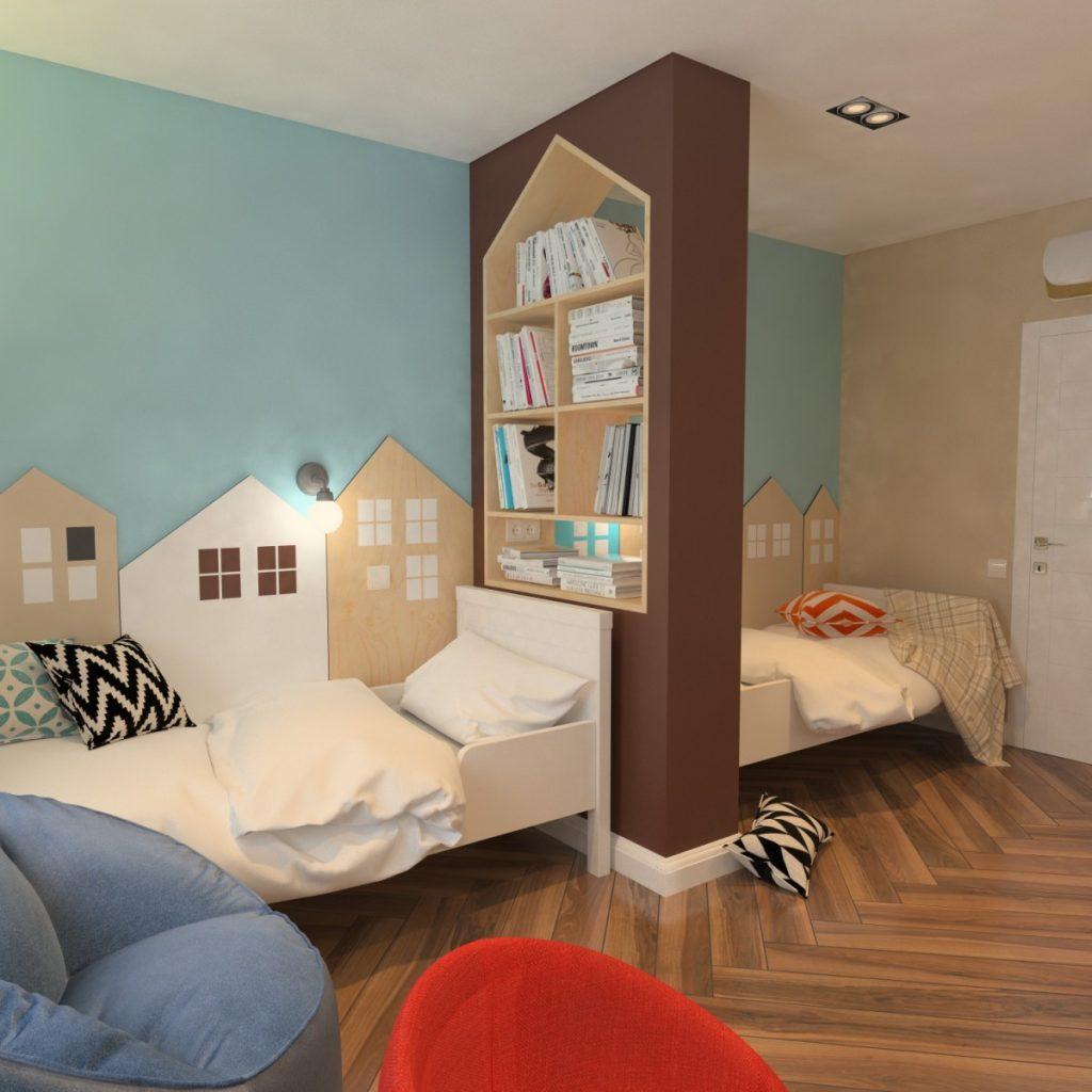 Встроенный шкаф-перегородка в спальне для двойни