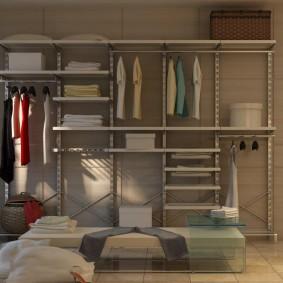 стеллажи для гардеробной комнаты декор идеи