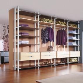 стеллажи для гардеробной комнаты идеи интерьер