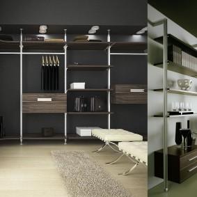 стеллажи для гардеробной комнаты идеи