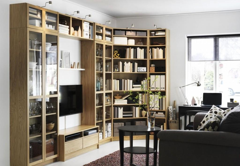 Стенка для книг в современной гостиной
