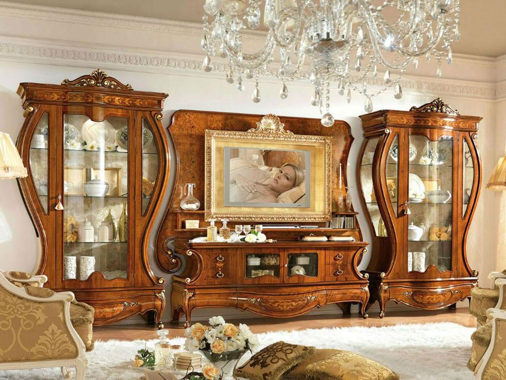 Стенка-горка темного цвета в гостиную классического стиля