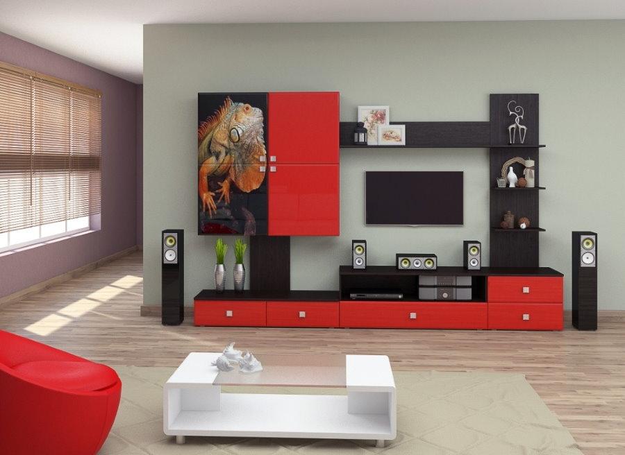 Красно-черная горка с глянцевыми фасадами