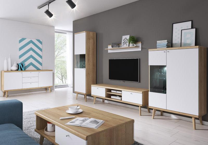 Стенка-горка для просторной гостиной в стиле сканди