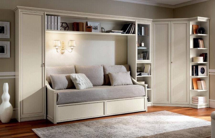 Угловая стенка с диваном прямого типа