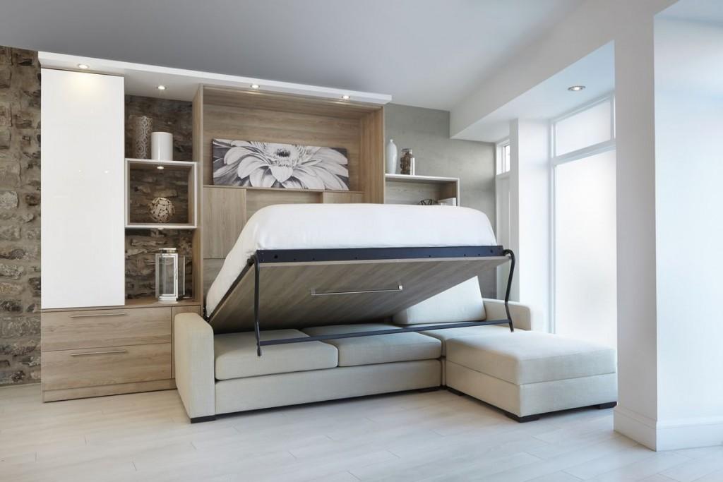 Откидная кровать в комплекте стенки для зала