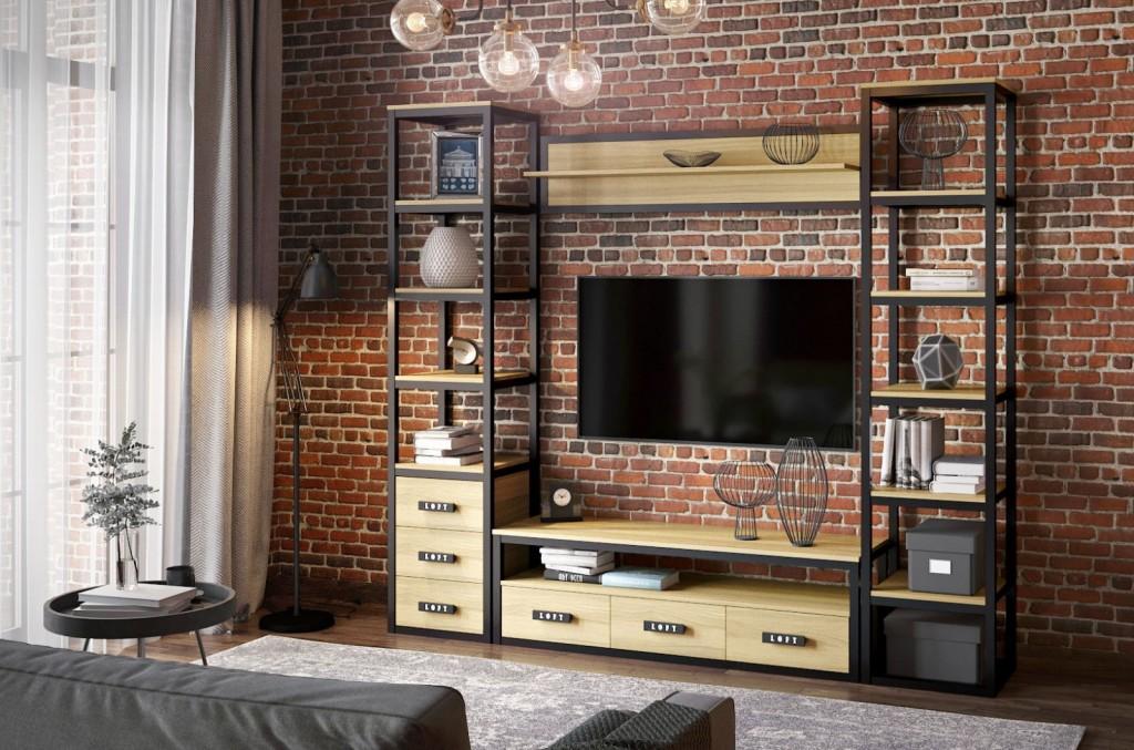 Компактная стенка для гостиной в стиле лофта