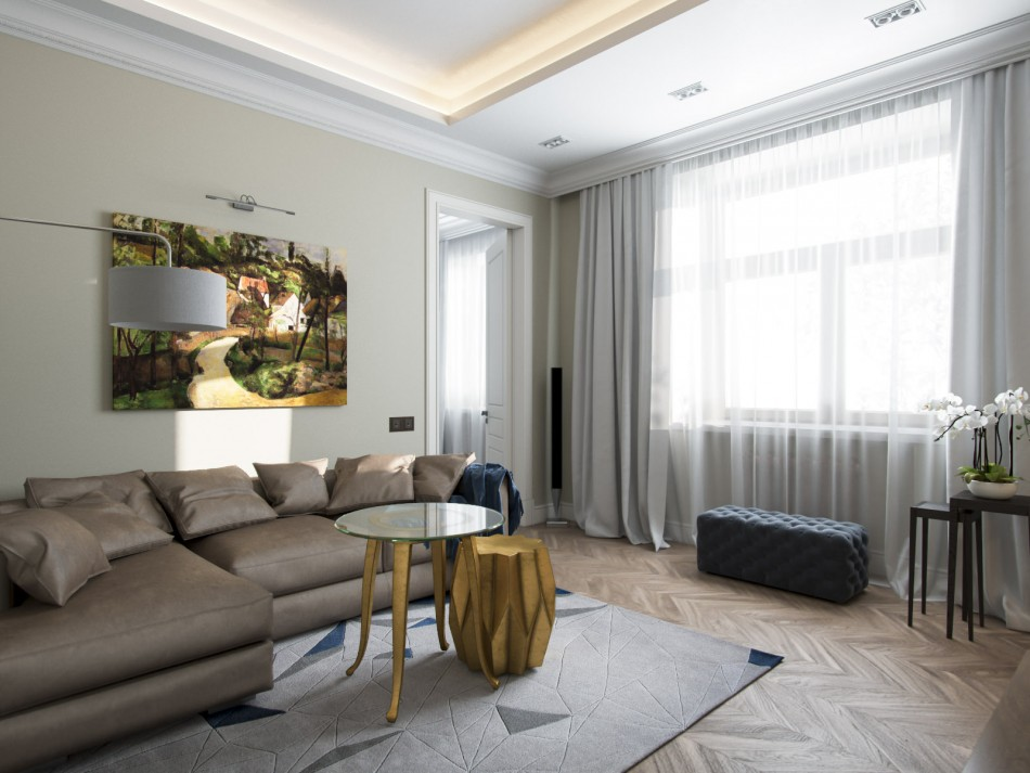 Угловой диван в гостиной двухкомнатной квартиры