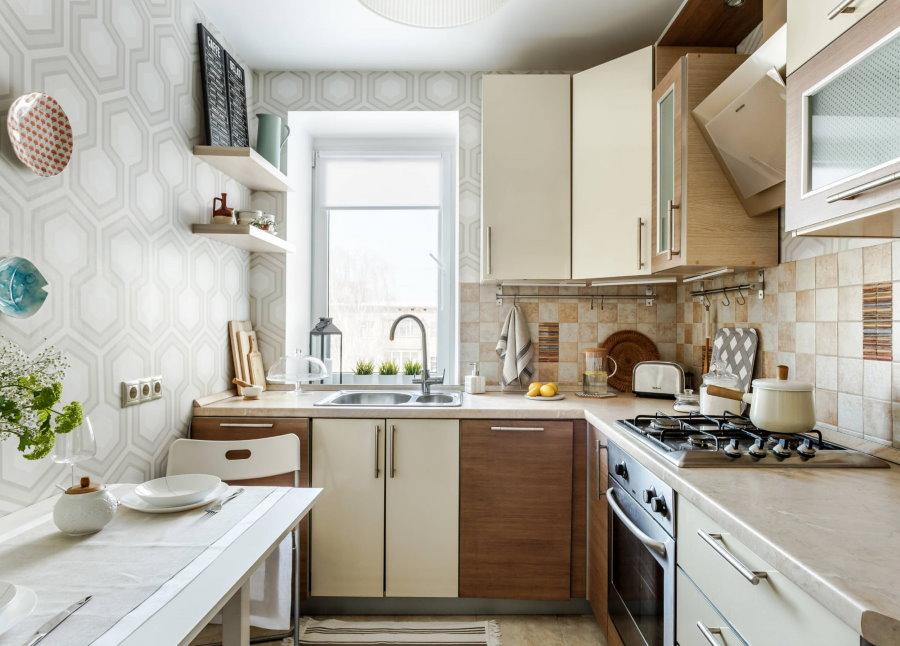Интерьер кухни в двушке после перепланировки