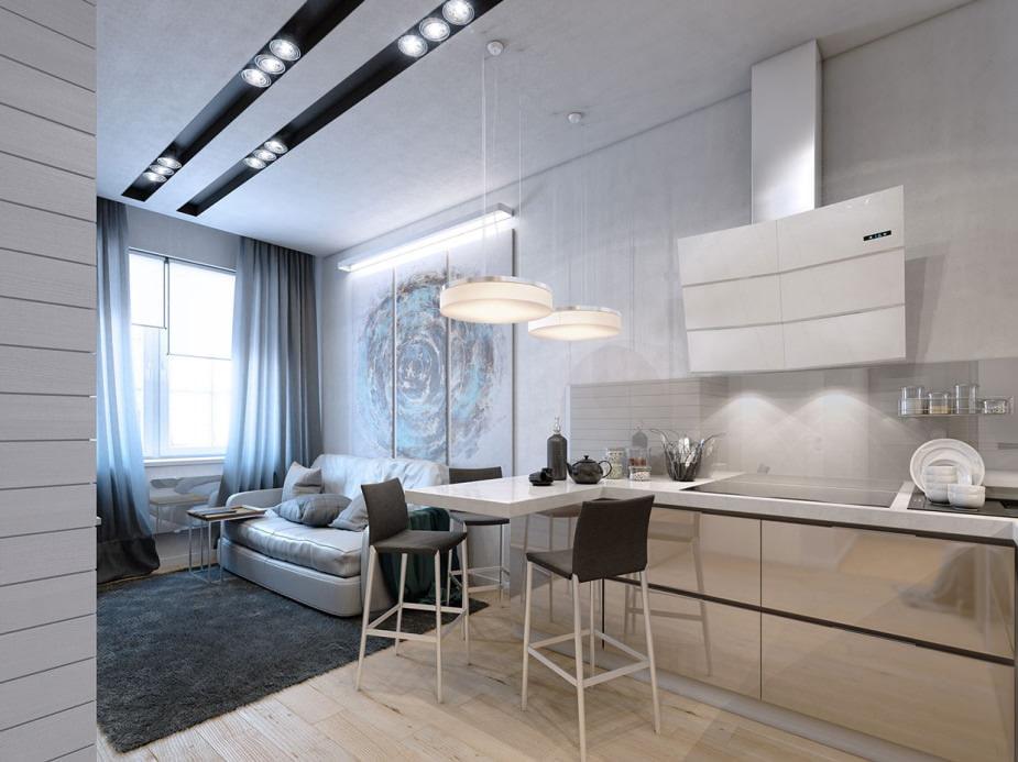 Трековые светильники на потолке квартиры площадью 55 кв м