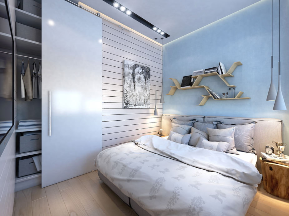 Шкаф-гардероб в небольшой спальне