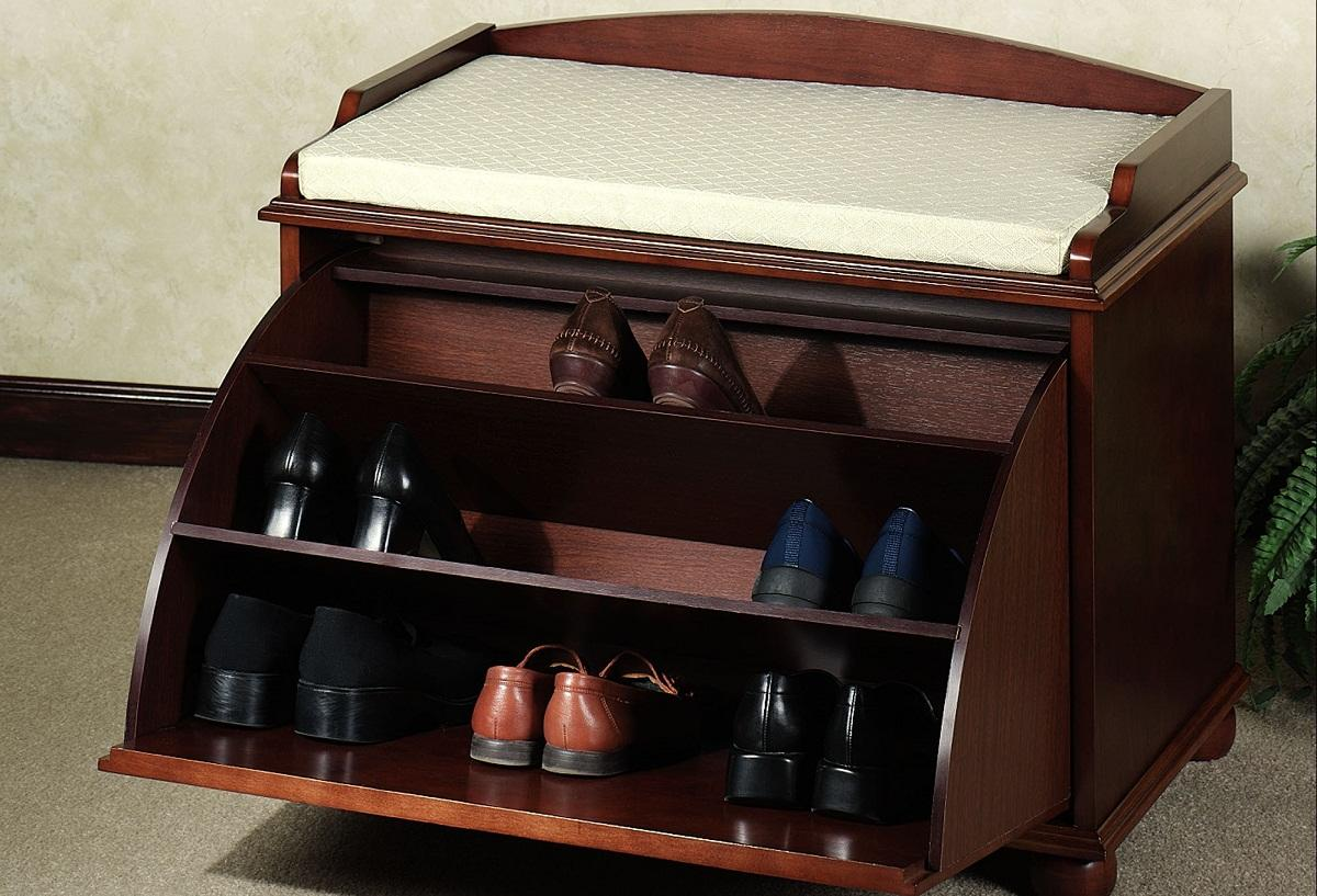 тумба для обуви с сиденьем и полками