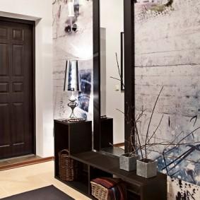 тумба с зеркалом в прихожей интерьер