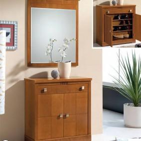 тумба с зеркалом в прихожей дизайн фото