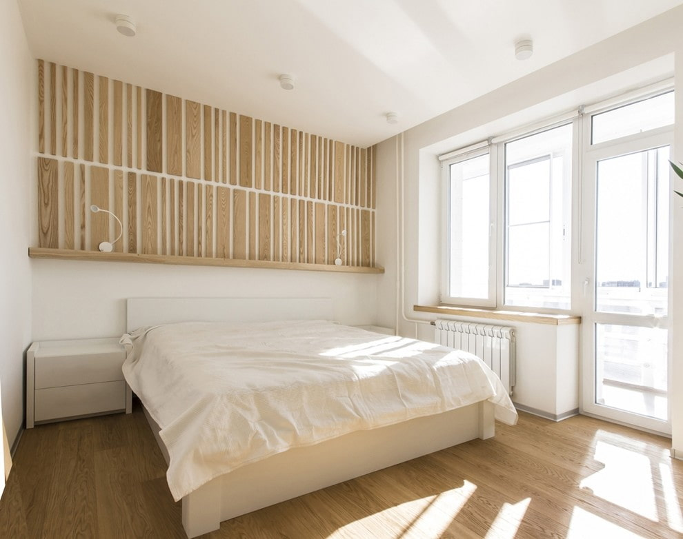Спальня в стиле минимализма с рулонными шторами