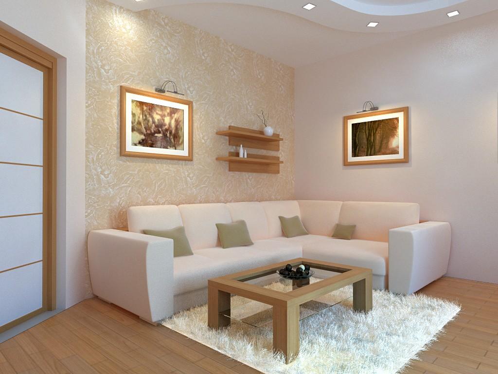 Угол гостиной комнаты с удобным диваном
