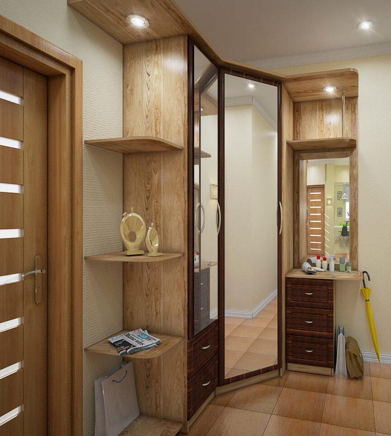Угловой шкаф с зеркалами в небольшой прихожей