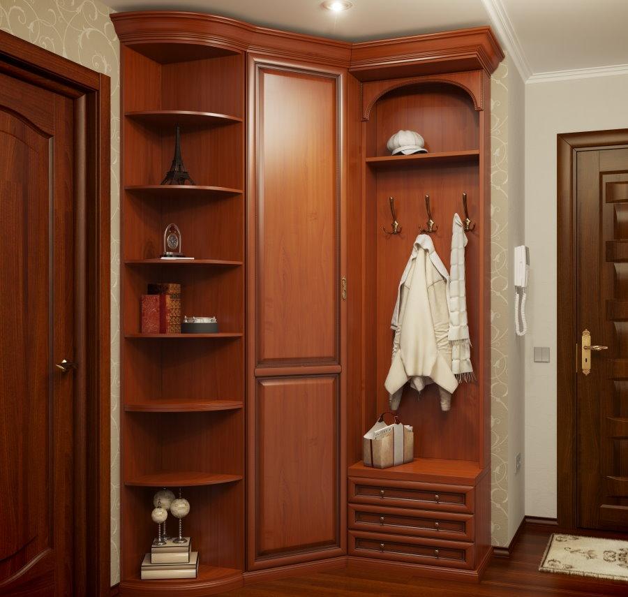 Угловой шкаф с вешалкой и боковыми полочками