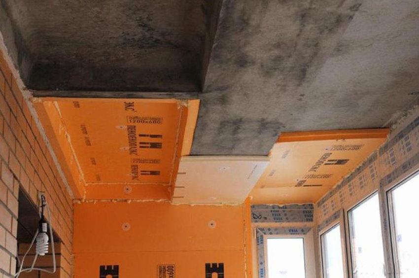 Утепление пенопластом бетонного потолка на лоджии