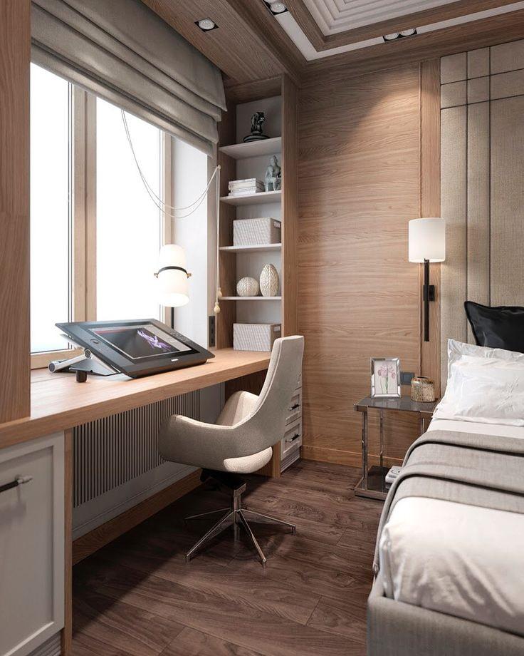 Стол-подоконник в уютной спальне