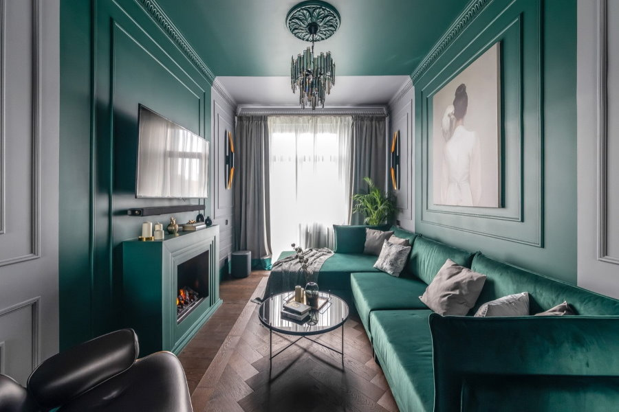 Оформление вытянутой гостиной комнаты в квартире