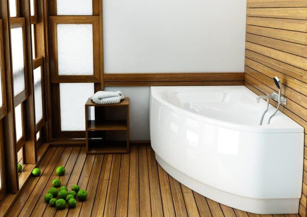 ванная с деревянным полом