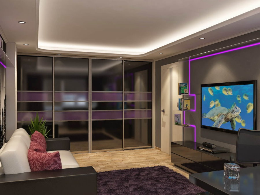Встроенные шкафы с дверцами из стекла