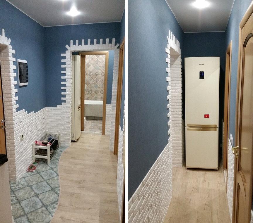 Место для холодильника в коридоре перед ванной комнатой