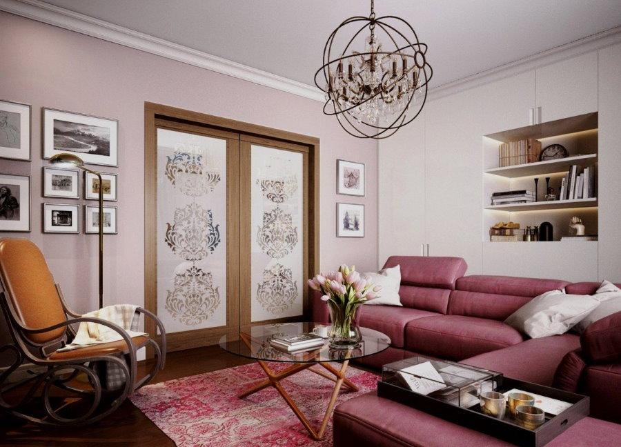 Обустройство зала квартиры в смешанном стиле интерьера