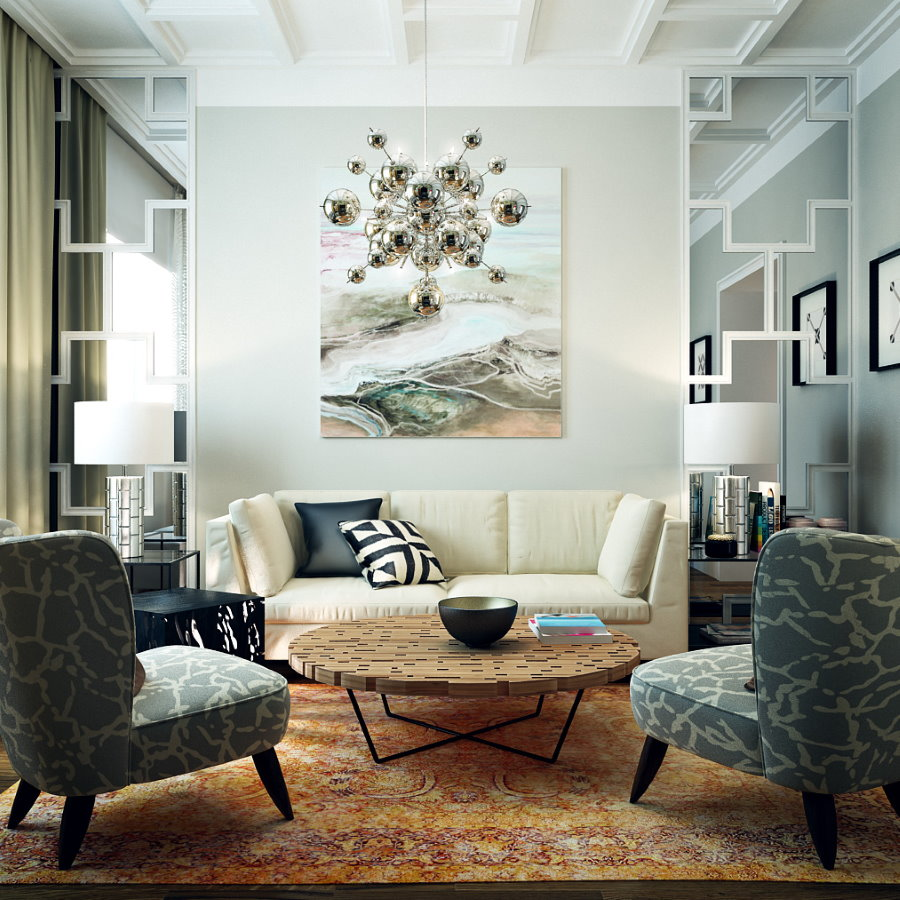 Декорирование гостиной квартиры в стиле фьюжн