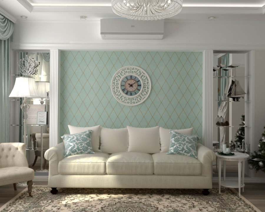 Круглые часы над диваном в двухкомнатной квартире
