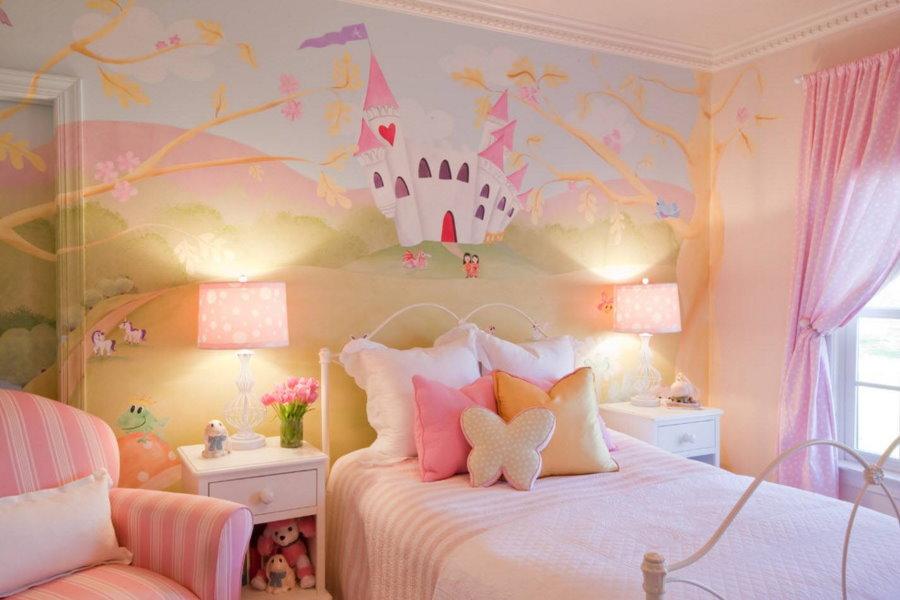 Освещение спальной зоны в девчачьей комнате