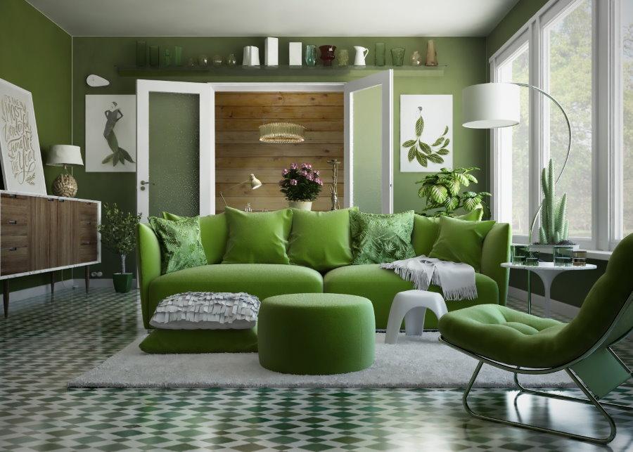 Зеленый диван в очень уютной квартире