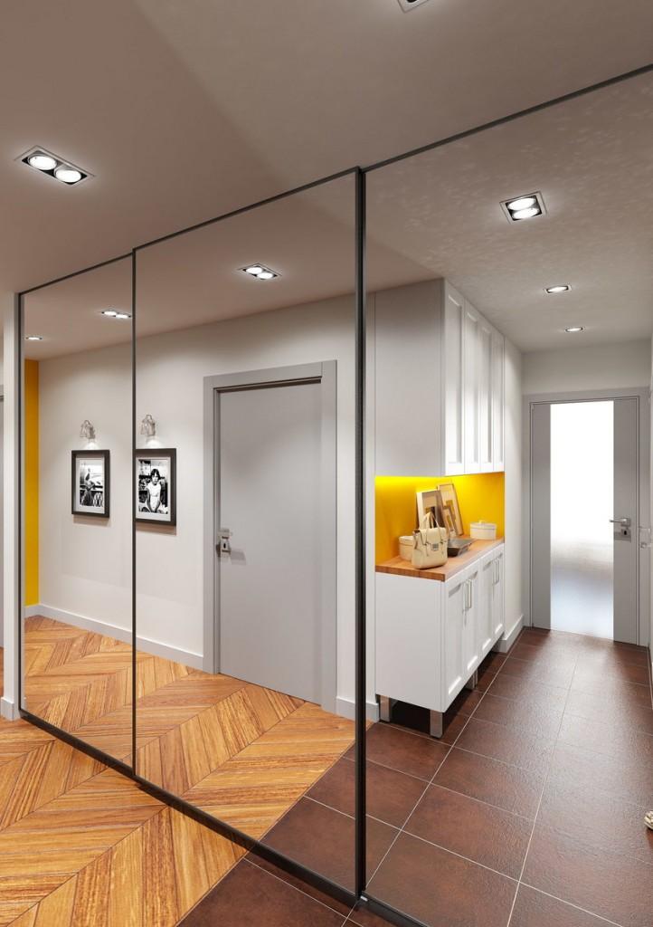 Шкаф-купе с зеркалами в узком коридоре