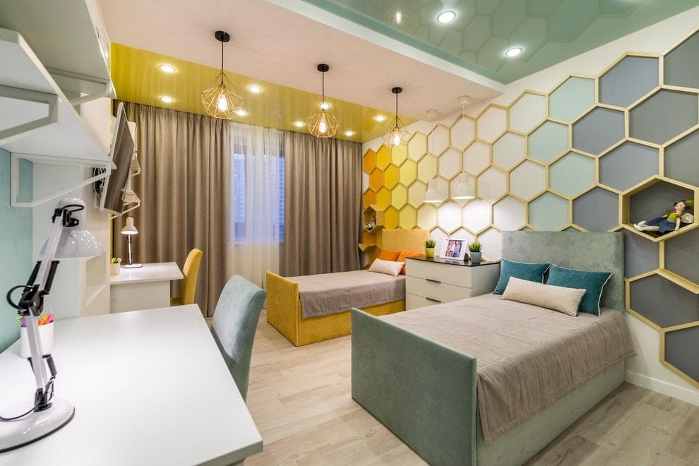 Зонирование цветом комнаты для двойняшек